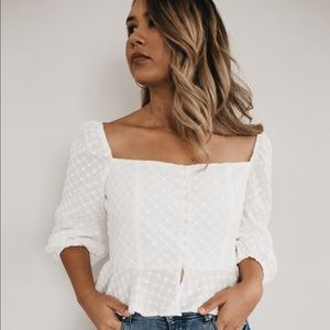White button up peasant crop top